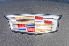 2019 Cadillac XT4 Premium Luxury - Interior - Seattle Media Drive - September 2018 013 - Cadillac logo on steering wheel