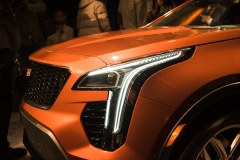 2019 Cadillac XT4 exterior live reveal 009 front end and headlight from side