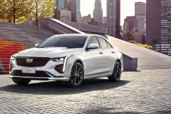 2020-Cadillac-CT4-Sport-Sedan-Crystal-White-Tricoat-Exterior-002-front-three-quarters