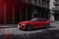2020-Cadillac-CT5-Sedan-in-Red-on-Street-001