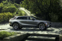 2023-Cadillac-Lyriq-Exterior-020-front-side-three-quarters-body-color-pillar-roofline-spoiler