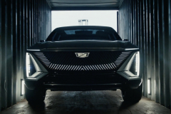 Cadillac-Lyriq-Show-Car-BEV3-Everybody-In-No-Way-Norway-Commercial-Will-Ferrell-2021-Super-Bowl-LV-008-front-end-shipping-container-illuminated-grille-Cadillac-logo-crest