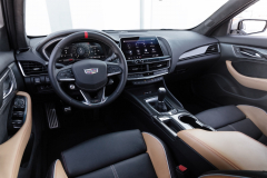 2022-Cadillac-CT5-V-Blackwing-Interior-Level-3-008-Natural-Tan-cockpit-steering-wheel-with-carbon-fiber-accents-and-red-stripe-digital-gauge-cluster-center-stack-manual-transmission
