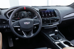 2022-Cadillac-CT5-V-Blackwing-Interior-Level-3-009-Natural-Tan-cockpit-steering-wheel-with-carbon-fiber-accents-and-red-stripe-digital-gauge-cluster-center-stack-manual-transmission
