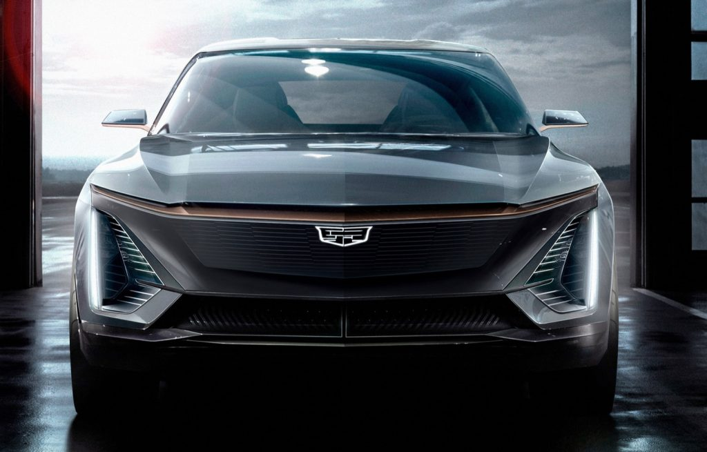 A concept car that previews the upcoming Cadillac Lyriq EV
