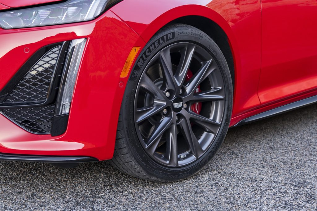 Brembo brakes with red-painted front calipers and V-Series branding on 2020 CT5-V will remain for 2021 model year. The V-Series caliper branding will also be applied to 2021 CT5 Sport equipped with the now-optional Brembo brakes.