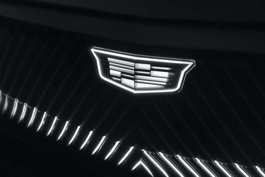 Back-lit Cadillac logo on Cadillac Lyriq show car