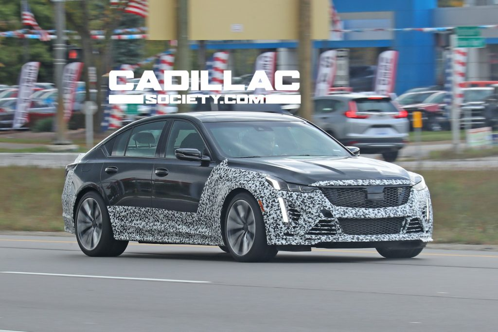 2022 Cadillac CT5-V Blackwing prototype with standard alloy / non-magnesium wheels.