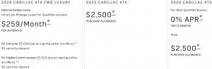 Cadillac XT4 Offer November 2020