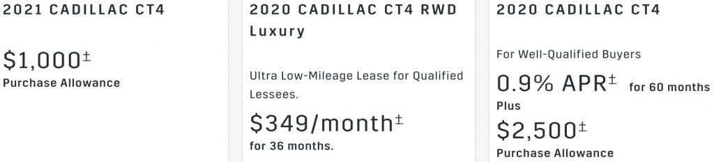 Cadillac CT4 Rebate January 2021