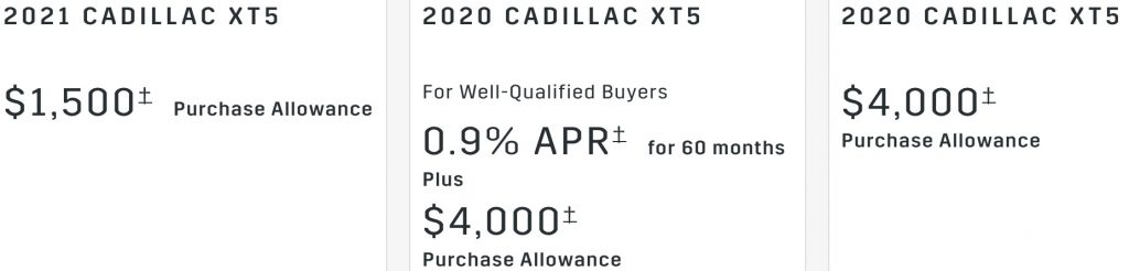 Cadillac XT5 Incentive January 2021