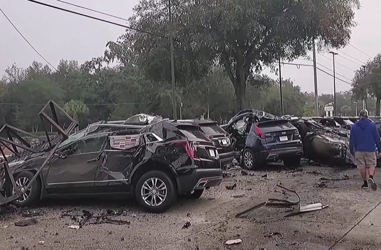 Cadillac Crossovers Destroyed On Dealer Lot In Street Racer Crash: Video