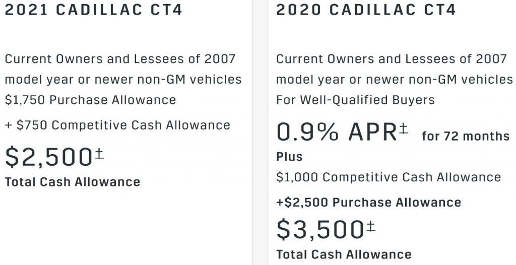 Cadillac CT4 incentive