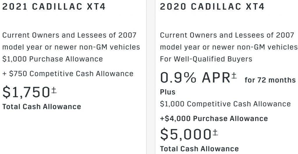 Cadillac XT4 Incentive