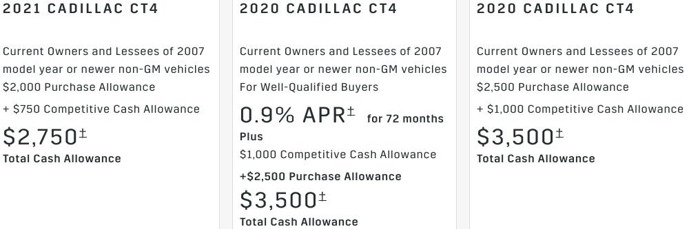 Cadillac CT4 rebate