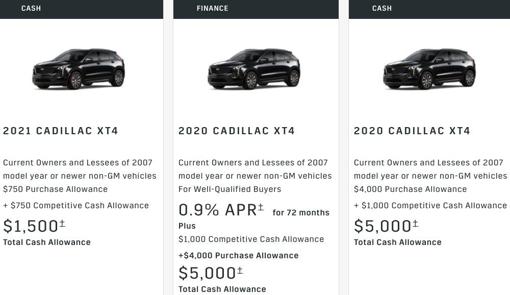 Cadillac XT4 Discount April 2021