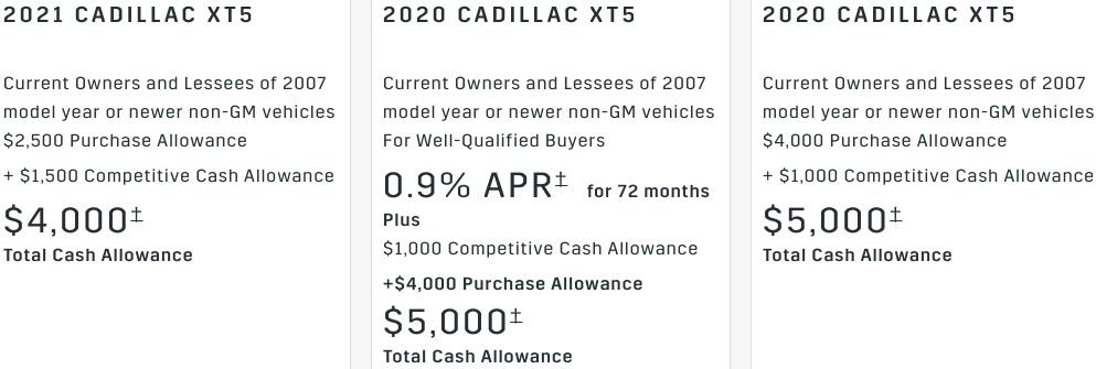Cadillac XT5 Incentive