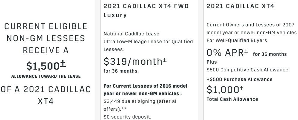 Cadillac XT4 discount