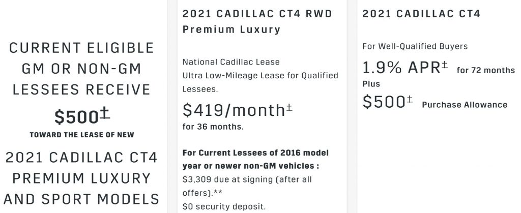 Cadillac CT4 discount July 2021