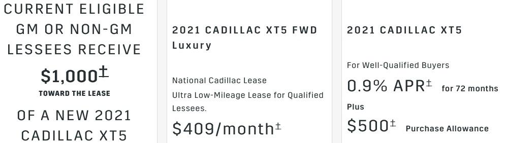 Cadillac XT5 discount